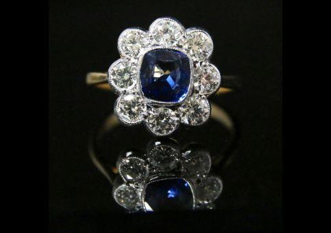 ANTIQUE DIAMOND SAPPHIRE RING 2CT DIAMOND CLUSTER 1.60CT SAPPHIRE