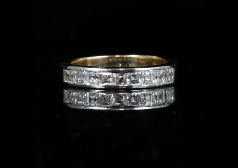 DIAMOND HALF ETERNITY RING ASSCHER CUT DIAMONDS FRENCH PLATINUM