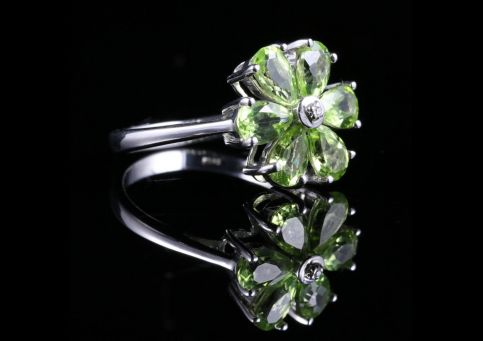Peridot Diamond Cluster Ring
