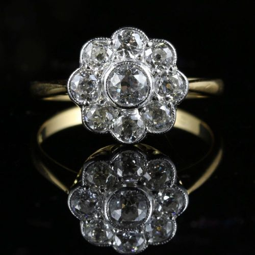 ANTIQUE DIAMOND CLUSTER RING 18CT GOLD 1.54CT