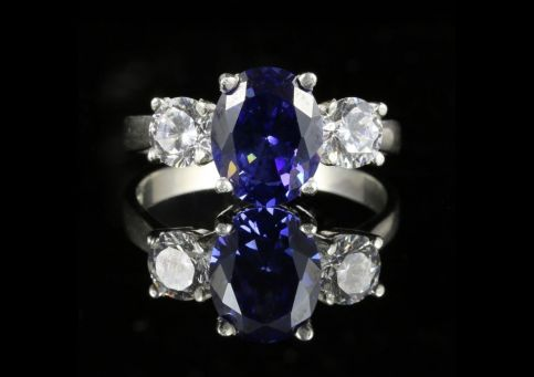 CZ TANZANITE AND PASTE TRILOGY RING
