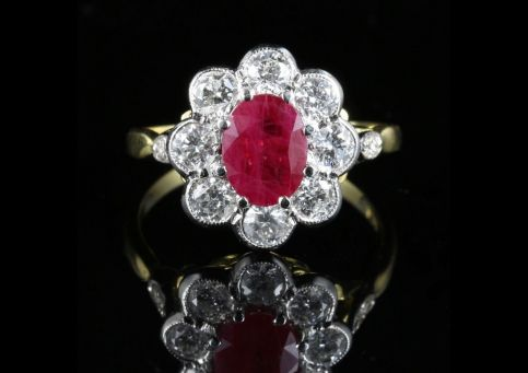 diamond ring ruby engagement victorian antique rings circa gold cluster