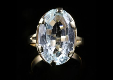 ANTIQUE AQUAMARINE GOLD RING 16CT IN SIZE FABULOUS AQUAMARINE