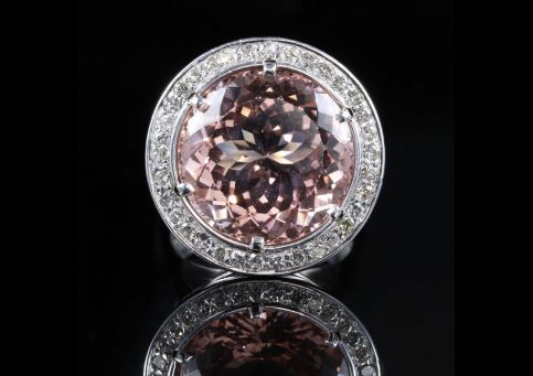 Morganite Diamond Ring Fabulous Large Ring 14k Front View