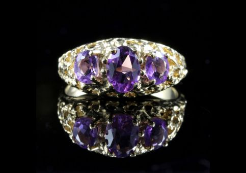 Amethyst Gold Ring Trilogy Of Amethyst 9ct Gold Front View