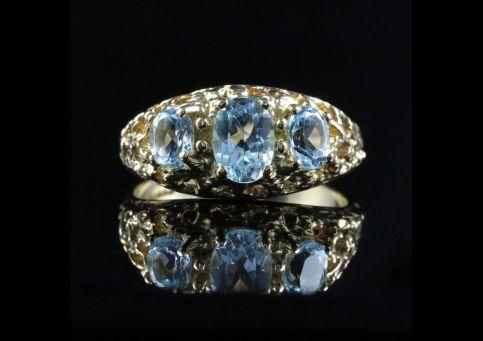 Aquamarine Gold Ring Trilogy Of Aquamarines 9ct Gold front view