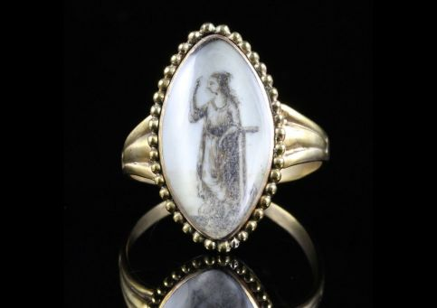 Antique Georgian Sepia Ring Lady Figure 18ct Gold 18th Century Front View