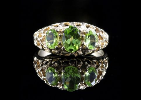 Peridot Gold Ring Trilogy Of Peridots 9ct Gold Front View