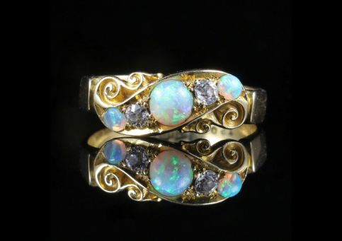 Antique Victorian Opal Diamond Ring 18ct Gold Chester Hallmark front view