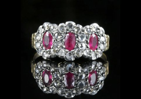 Antique Georgian Ruby Diamond Ring front view