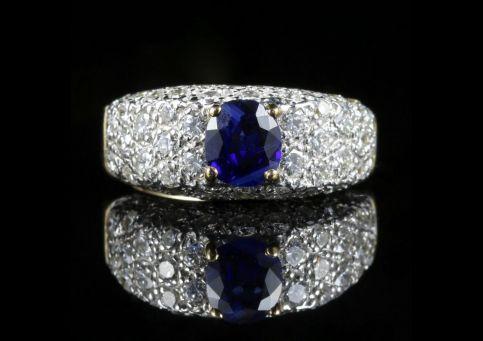 DIAMOND SAPPHIRE ENGAGEMENT RING 5CT DIAMOND 18CT GOLD