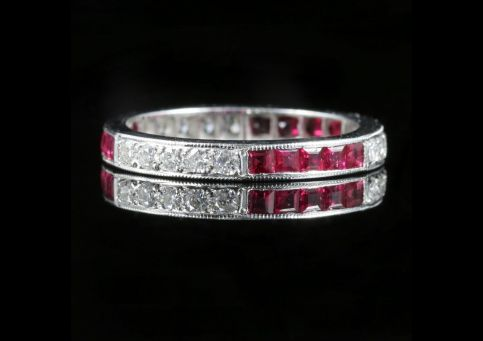 Ruby Diamond Eternity Ring 18ct White Gold Old Cut Diamonds Front View of ring