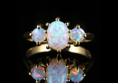 Opal Gold Trilogy Ring 9ct Gold front view