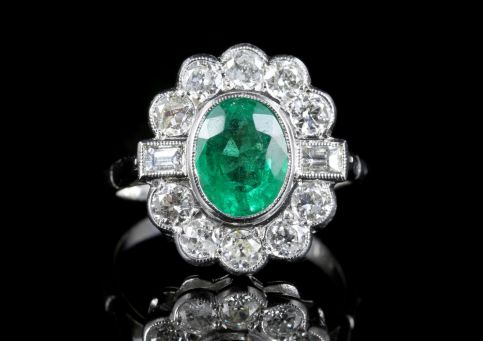 Emerald Diamond Cluster Ring 18ct White Gold 2.50ct Emerald 1.80ct Diamond front view