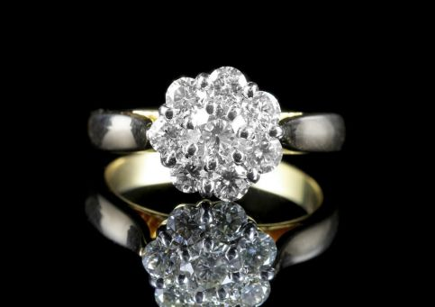 Antique Diamond Cluster Ring 14ct Gold front view