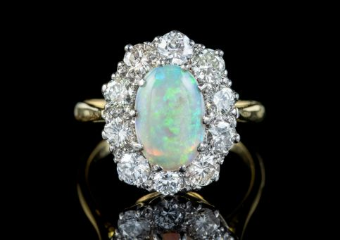 ANTIQUE EDWARDIAN OPAL DIAMOND RING PLATINUM 18CT GOLD 2.80CT OPAL 2CT DIAMOND CIRCA 1905 front