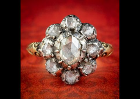 Rose-Cut-Diamond-Cluster-Ring-18ct-Gold-Silver-2.60ct-Of-Diamond-cover
