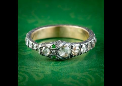 DIAMOND SNAKE ETERNITY RING 18CT GOLD SILVER EMERALD EYES 2CT OF DIAMOND COVER