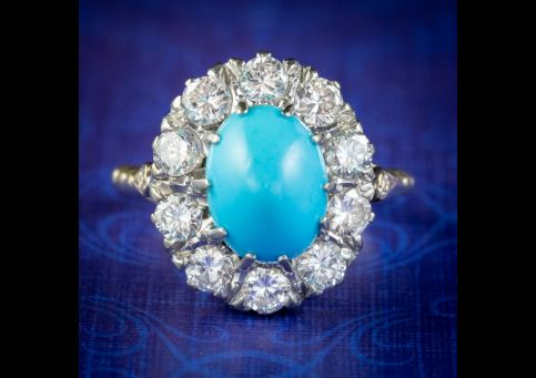 ANTIQUE EDWARDIAN TURQUOISE DIAMOND CLUSTER RING PLATINUM 18CT GOLD 2CT OF DIAMOND CIRCA 1905 cover