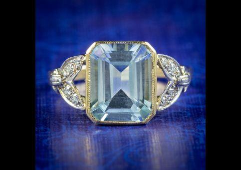 Art-Deco-Style-Aquamarine-Diamond-Ring-18ct-Gold-3ct-Aqua-cover
