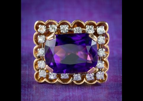 Art-Deco-French-Amethyst-Diamond-Cocktail-Ring-10ct-Amethyst-Circa-1930-cover