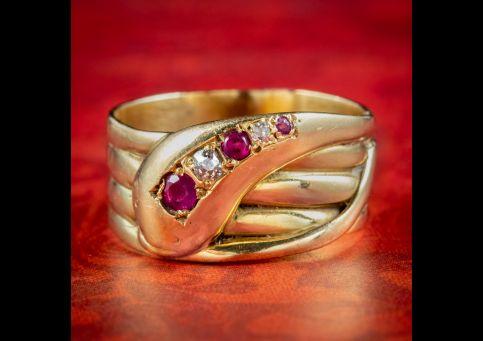 Antique-Victorian-Ruby-Diamond-Snake-Ring-Circa-1890-cover