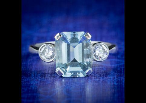 Art-Deco-Style-Aquamarine-Diamond-Trilogy-Ring-3.50ct-Aqua-cover