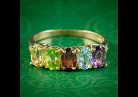 Victorian-Style-Gemstone-Five-Stone-Ring-9ct-Gold-COVER