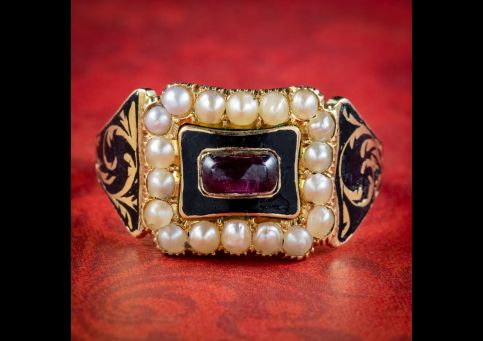 Antique-Victorian-Mourning-Ring-Garnet-Pearl-Betty-Nath-Dated-1840-cover