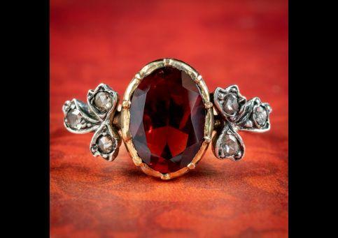 Georgian-Style-Garnet-Diamond-Ring-3ct-Garnet-cover