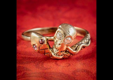 Georgian-Style-Memento-Mori-Diamond-Skull-Snake-Ring-cover
