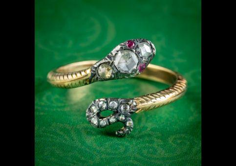 Georgian-Style-Diamond-Snake-Ring-Ruby-Eyes-cover