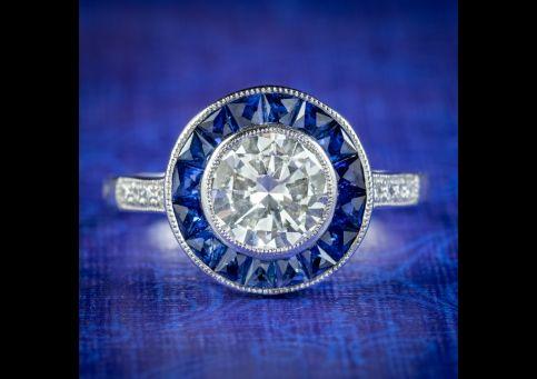 Art-Deco-Style-Diamond-Sapphire-Target-Ring-1.40ct-Diamond-cover