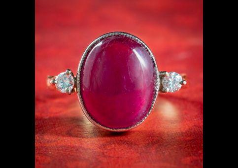 Antique-Edwardian-Cabochon-Ruby-Diamond-Ring-Circa-1910-cover