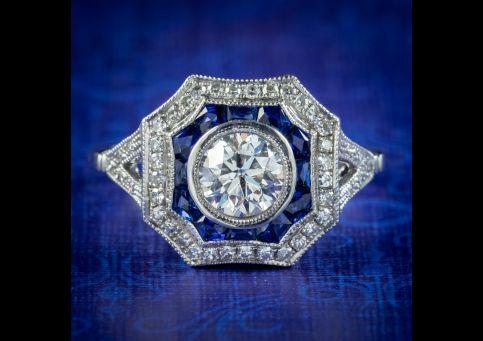 Art-Deco-Style-Diamond-Sapphire-Ring-1ct-Of-Diamond-cover