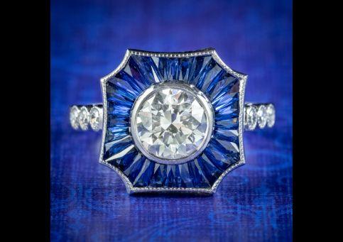 Art-Deco-Style-Diamond-Sapphire-Ring-1.25ct-Diamond-cover