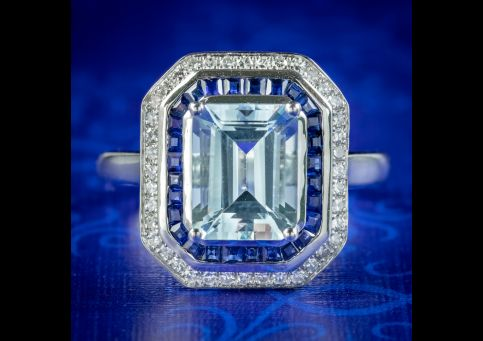 Art-Deco-Style-Aquamarine-Sapphire-Diamond-Ring-3.5ct-Aqua-cover
