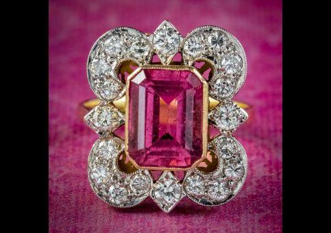 Art-Deco-Pink-Tourmaline-Diamond-Ring-4.10ct-Tourmaline-Circa-1920-With-Cert-cover