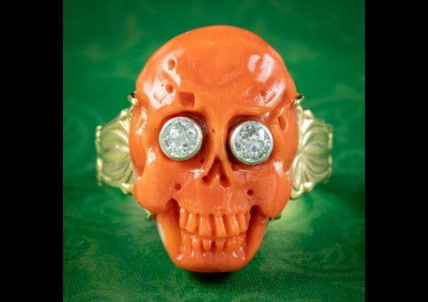 Georgian-Memento-Mori-Style-Coral-Skull-Ring-Diamond-Eyes-cover