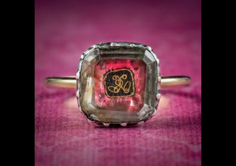 Antique-Georgian-Stuart-Rock-Crystal-Ring-Gold-Wire-Cipher-Circa-1730-cover