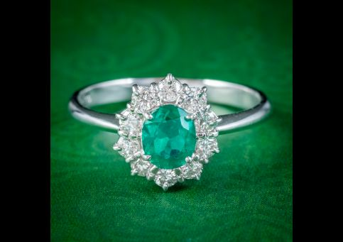 EMERALD DIAMOND CLUSTER RING PLATINUM 0.80CT COLOMBIAN EMERALD WITH CERT cover