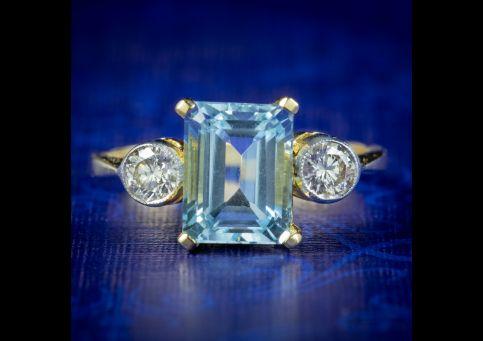 Aquamarine Diamond Trilogy Ring Emerald Cut Aquamarine Engagement Ring FRONT