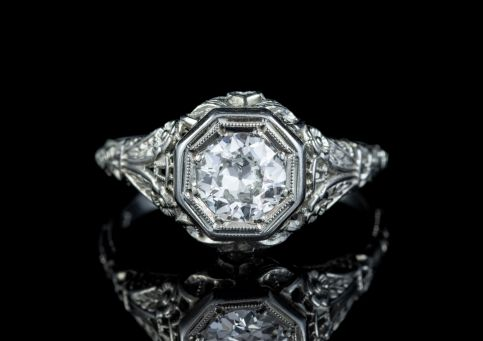 ART DECO DIAMOND ENGAGEMENT RING 18CT WHITE GOLD 1.10CT DIAMOND SOLITAIRE FRONT