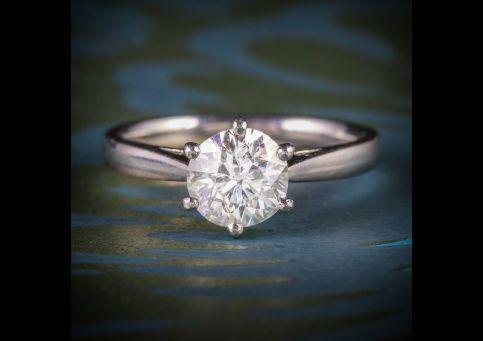 ANTIQUE EDWARDIAN 1.60CT DIAMOND RING PLATINUM ENGAGEMENT CIRCA 1910 VS1 front