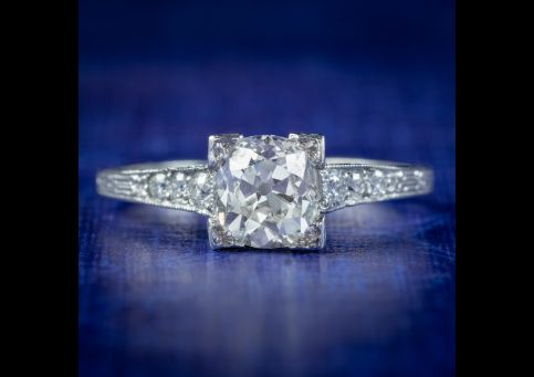 Antique Art Deco Diamond Engagement Ring Solitaire Circa 1920 front view