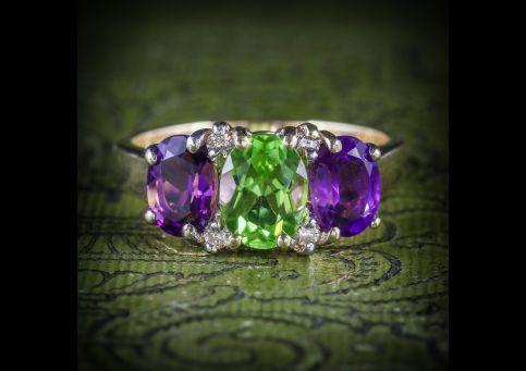 SUFFRAGETTE AMETHYST PERIDOT DIAMOND GOLD RING