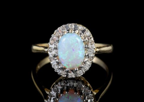 Opal Diamond Cluster Ring 9ct Gold front