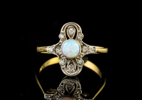 Opal Paste Stone Cluster Ring 9ct Gold On Silver front