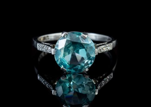 Antique Edwardian 3.20ct Blue Zircon Diamond Ring 18ct White Gold Circa 1910 front