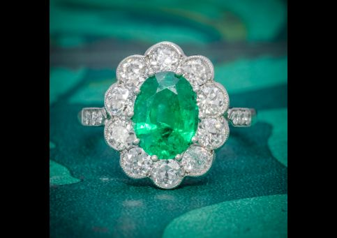 EMERALD DIAMOND CLUSTER RING PLATINUM 2.50CT EMERALD 1.20CT DIAMOND cover
